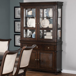 Coaster - Harris Buffet/Hutch, Deep Rich Cherry - The collection is made from poplar solids and cherry veneers.