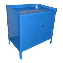 Mid-Century Steel Industrial Cabinet in Blue - This is a Mid-Century steel industrial cabinet in ...