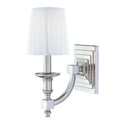 Frontgate - Continental Classics 1-Light Wall Sconce - Provides ample illumination while making a brilliant accent for a dining room, hallway, bedroom, or foyer. Polished nickel finish. UL listed for dry locations. Includes one white shade. Takes one 60-watt candelabra bulb. The Continental Classics 1-light Wall Sconce offers gorgeous yet unpretentious style for everyday luxurious living. The curled arm and beveled candelabra style light is accented with a modern polished nickel finish and a squared off cross section.  .  .  .  .  .