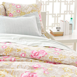 "Pine Cone Hill - Pine Cone Hill Ume Platinum Duvet Cover - Pine Cone Hill's fresh and feminine Mod Maisonette collection has distinct Parisian flair. The untamed floral print of the Ume duvet cover brings a splash of sophisticated fun to the bedroom in platinum and bright pink. Coordinate the room with the matching Ume pillow sham (available separately). Duvet cover is made from 100% cotton. Machine wash, tumble dry low. Available in twin, full/queen and king sizes. Twin measures 68"" x 86"". Full/Queen measures 88"" x 88"". King measures 102"" x 92""."