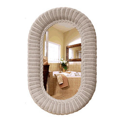 Oval Rattan Wicker Wall Mirror - I love this wicker mirror, and the fact that I can buy one new, because it's the kind of thing you usually only see in someone's house on Martha's Vineyard, and it's been passed down for generations.