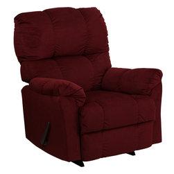 Flash Furniture - Flash Furniture Contemporary Top Hat Berry Microfiber Rocker Recliner - Contemporary top  Hat Berry microfiber Rocker recliner [AM-9320-4170-GG]