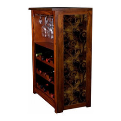 """Kelseys Collection - Wine Cabinet 15 bottle iron Leaf - Wine Cabinet stores fifteen wine bottles and glassware with a wallpaper pattern called """"iron leaf"""" on the side panels  The frame, top, and racks are solid New Zealand radiata pine with a hand stained and hand rubbed medium reddish brown finish, which is then protected with a lacquer coat and top coat."""