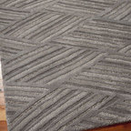 Horchow - Steel Tracks Rug, 8' x 11' - This rug is multidimensional with cut and loop piles in varying heights that combine to create a modern design. Perfect for a variety of interiors and certain to be a conversation starter. Hand-tufted wool/viscose/polyester. Size is approximate. Impo...