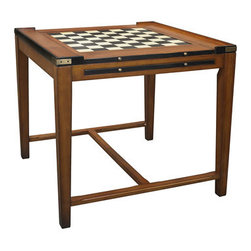 """Casino Royale Game Table - The casino royale game table measures 32.5 x 32.5 x 29.9"""". Pull up a comfy chair and select your game of choice! Chess, backgammon, poker, or just a game of cocktails? Easy transformations make our next generation game table into one of the most versatile pieces of furniture imaginable. Shipped disassembled, it makes for easy assembly, but also disassembly and storage. Brass details make this table an indestructible creation for generations of use."""