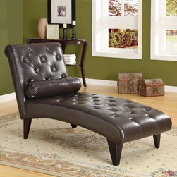 Monarch Tufted Faux Leather Chaise Lounger - Dark Brown - For a dash of majestic luxury, add the Monarch Tufted Faux Leather Chaise Lounger - Dark Brown to your home collection. You'll find its padded surface a welcome relief from the day's hardships and its elegant tufted dark brown faux-leather a worthy companion to any other leather or dark wood pieces in your decor. Its sturdy frame is made from solid hardwood, meaning this contemporary-style piece isn't just for show. A matching cylindrical accent pillow is also included with the piece.About Monarch SpecialtiesWilbur Berger established Monarch Glass in 1950 on Rachel Street in Montreal, providing quality custom mirror and glasswork for both retail stores and the home. Understanding that there was more business with glass, Monarch started manufacturing and then diversified to importing mirrors and frames. Currently, the company is centered in Quebec, where it is a leader among furniture importers and distributors, focusing on fashion forward designs and impeccable customer service.