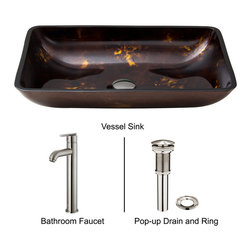 Vigo - Rectangular Brown and Gold Glass Vessel Sink and Waterfall Faucet Set - The VIGO Rectangular Brown and Gold Fusion glass vessel sink and matching waterfall faucet set offers endless beauty.