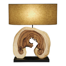 Scandinavian Design - Natural Arbor Lamp - Sculptique table Lamp, this Charming and elegant lamp is made of natural reclaimed block of Acacia wood that is cut to give the lamp its natural shape