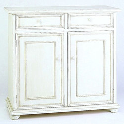 Wayborn - Jayson 2-Door Cabinet w Drawers in Whitewash - 2 Drawers. 2 Doors cabinet. Made from Basswood. Antique smooth finish. Worn look. 38 in. W x 16 in. D x 35 in. H (54 lbs.)