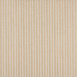 Beige And Ivory Two Toned Stripe Upholstery Fabric By The Yard - P3011 is great for residential, and commercial applications. This fabric will exceed at least 35,000 double rubs (15,000 is considered heavy duty), and is easy to clean and maintain.