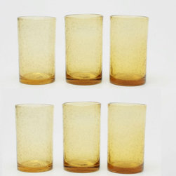 Tag Everyday - Bubble Glass Tumbler in Wheat - Set of 6 - Set of 6. Straight-sided design. Handmade. Dishwasher safe. Capacity: 18 oz.. 3.25 in. Dia. x 5.75 in. H