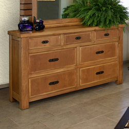 Artisan Home Furniture - Artisan Home Lodge 100 7 Drawer Dresser - Cottonwood and Alder give this Bedroom Collection additional strength  durability and beauty. Wood tone lacquer coating gives depth  color and clarity to this outstanding bedroom. Dovetail hardwood drawers provide additional strength. All drawers feature full extension glides for easy operation. Enjoy casual elegance every night with your own Lodge Bedroom  a mountain retreat atmosphere in your home.