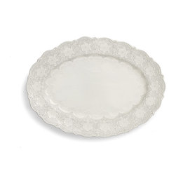 Arte Italica - Merletto Antique Oval Platter - Why serve it on a silver platter when you could use this one instead? Beautifully detailed with a vintage lace pattern, each is made in Italy by hand for unique character. Subtle variations in size and color are to be expected and celebrated.