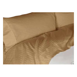 Bed In A Bag - LUXOR-1000TC Egyptian Cotton Duvet Cover Set- Striped Bronze - LUXOR-1000TC Egyptian Cotton Duvet Cover Set- Striped Bronze.  Machine Washable