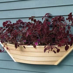 Dory Half Planter or Window Box - Charm and functionality with a nautical touch. Crafted from red cedar with white cedar trim. Natural finish will weather or it's ready for you to stain.