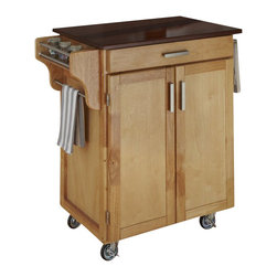 Home Styles - Home Styles Cuisine Cart in Natural Finish with Cherry Top - Home Styles - Kitchen Carts - 90010017G -Home Styles Cuisine Kitchen Cart in a natural finish with a 3/4 inch Cherry finished wood top features solid wood construction, and Utility drawer; 2 cabinet doors open to storage with adjustable shelf inside; Handy spice rack, Towel bar; Heavy duty locking rubber casters for easy mobility and safety. Size: 32.5w 18.75d 35.5h. Assembly required.