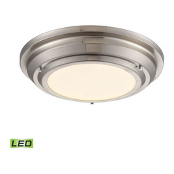 Elk Lighting - EL-57000/LED Sonoma LED 1-Light Flush Mount in Brushed Nickel - These flushmounts combines the latest in LED technology with a sleek, attractive design. Each item has a stepped, low-profile enclosure containing high-powered LEDs that emit a bright, yet evenly distributed 3000K light through a white acrylic diffuser. Choose between two sizes in brushed nickel, polished chrome, and oil rubbed bronze.