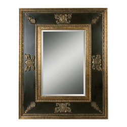 Uttermost - Uttermost 11173 B Cadence Mirror In Antique Gold - This stately mirror has antiqued gold leaf inner and outer edges and ornamentation. The inside panels have a distressed black finish with green glaze. Mirror is beveled.