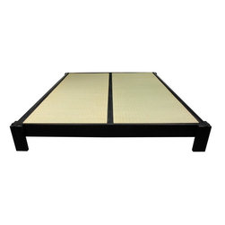 Oriental Furniture - Tatami Platform Bed - Black - Cal. King - This Tatami Platform Bed is made of Beech and Birch wood done in a stunning black finish. It is the perfect addition to your zen inspired bedroom retreat. Tatami Mats are not included with the purchase of this bed.