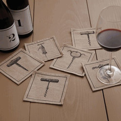 Vino™ Corkscrew Coasters/ Cocktail Napkins - Set of 6 by Two