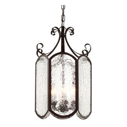Trans Globe Lighting - Rubbed Oil Bronze New Century Iced Glass 10-Inch Foyer Pendant with Clear Water - - Delightful Victorian pendant hangs beautifully over table areas, or as accent to living rooms and bedrooms. Water glass softens shadows for romantic home d�cor lighting.  - 3 Light Foyer Pendant  - Water glass casts soft shadows against foyer entry areas and d�cor  - Includes 3' chain to adjust hanging length where needed  - Attaches to 5 round ceiling plate and hangs straight from angled ceiling  - Candle sconce arms hold chandelier tip bulbs  - Iced Victorian indoor foyer pendant in 3 sizes  - Material; Steel, Glass  - Bulbs not included Trans Globe Lighting - 40190 ROB