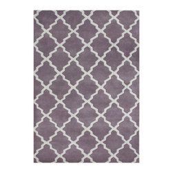 Alliyah Rugs - Lilac & Moon Beam Contemporary Rug - Alliyah Handmade New Zealand Blend Wool Rug With Lilac, Moon Beam Color. Antique Washed.