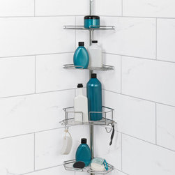 Zenith - Zenith Twist Tight Chrome Shower Pole Caddy - Convert unused corner space into storage space with this attractive,chrome pole caddy. The three shelves and one deep basket allow for customized positioning so you can efficiently reach things at a lower level for bathing or high at eye level.