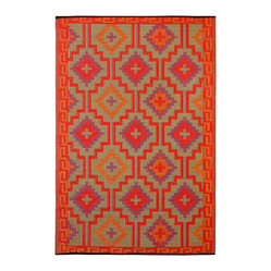 Indoor/Outdoor Lhasa Rug, Orange & Violet, 6x9