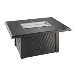 "The Outdoor Greatroom - Napa Valley Rectangular Fire Pit Table With Black Wicker Side Panels, Black - The Napa Valley fire pit table features a classic design and is easily customizable. Choose from a brown metal base with either brown metal side panels or brown wicker side panels, and a gorgeous slate-like porcelain tile top with beautiful swirls of browns, tans and greys; Or from a black metal base with either black metal side panels or black wicker side panels, and an elegant black granite tile top. Either tile top easily comes out in order for you to add your own personal ""tile-touch"" or color. This fire pit able comes with a rectangular 24x12 inch stainless steel Crystal Fire Burner that will truly light up the night and add warmth to your outdoor space. These burners are made from high quality stainless steel and include tempered, tumbled glass, an LP hose and regulator, a metal flex hose, a gas valve, and a push button sparker. With just a push of a button, a beautiful clean-burning fire appears atop a bed of highly reflective Diamond glass fire gems. All burners are shipped with orifices for LP or NG fuels and are UL approved for safety and quality. Adjust the flame height to your desired setting and enjoy the magic and ambience of a warm glowing fire."