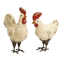 Distressed White Crackle Roosters - Set of 2 - *This set of two Quinn Roosters feature rustic crackle finishes in white.