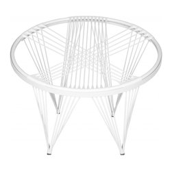 Safavieh - Launchpad Chair - Call it a web of intrigue for your home. The Launchpad chair is a space-age iteration of the 1950s-era Papasan chair, only lighter and more contemporary in design.  Woven silicone cords attach to a white iron frame for a feeling of free-floating comfort.