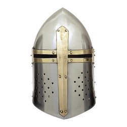 ecWorld - Antique Replica Full-Size Metal Crusader's Helmet - This beautiful high-quality full-sized metal Crusader's Helmet antique reproduction is made of solid metal and is handcrafted and hand-assembled using quality metals to recreate a high quality authentic-looking antique helmet.