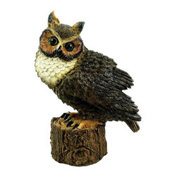 Michael Car Designs - Michael Carr Merlin the Great Horned Owl Resin Statue Multicolor - MCD80053 - Shop for Statues and Sculptures from Hayneedle.com! The Michael Carr Merlin the Great Horned Owl Resin Statue is a fun and lively addition to any garden space. Great Horned Owl Perched is part of the Raptor Collection. This is an extension to our Feathered Friends line. Owls have such great color and beautiful eyes. Each one is so interesting and deep. We think you will find the details on these creatures extraordinary. The durable polyresin has a U.V. coating that resists cracking or chipping from the sun.About Michael Carr DesignsDesigning an exclusive line of high-end garden pottery fountains statuaries and bird baths Michael Carr Designs brings something new and innovative to your outdoor living space. There's something for everyone with their fashionable colors soft raining finishes and multiple styles. Each piece is hand-made beginning with a craftsman molding the clay and ending with a rustic Old World kiln. This means each piece is unique a true one-of-a-kind. Michael Carr Designs works in a variety of materials like Vietnamese glazed pottery Malaysian pottery Italian terracotta pottery and resin just to name a few.