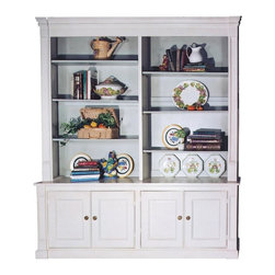 British Traditions - 7 Ft. Wide Country Hutch w 2 Large Cabinets & Book-Size Shelves (Thyme) - Finish: Thyme. Each finish is hand painted and actual finish color may differ from those show for this product. Country hutch with book-size shelves. 2 Large cabinets with 2 panel doors each. Crown molding. Minimal assembly required. Top shelf size: 36.5 in. W x 11 in. D x 55 in. H each side. Cabinet size: 40 in. W x 17 in. D x 22 in. H each side. Overall Dimensions: 84 in. W x 19 in. D x 92 in. H (280 lbs.)