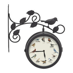 Mark Feldstein - Mark Feldstein and Associates OCTB78 Outdoor Singing Bird Clock & Thermometer - Our exciting two-sided Outdoor Clock swivels to showcase our Singing Bird Clock on one side and an Outdoor Thermometer on the other. Our Singing Bird Clock features a different birdsong at the top of each hour. This durable weather-resistant Clock/Thermometer is a perfect accent for the patio, garden or deck. Features songs from the American Robin, Northern Mockingbird, Blue Jay, House Wren, Tufted Titmouse, Baltimore Oriole, Morning Dove, Blakc-capped Chickadee, Northern Cardinal, White-throated Sparrow, White-breasted Nuthatch, and the House Finch. And a light sensor deactivates bird sounds at night. Bracket Dimensions:  11 inches tall, 12 inches longClock requires 3 AA batteries (not included)Country of origin: China Mounting Tips:It is recommended to not mount in direct sunlight as this will affect the accuracy of the thermometer.  Ideally, this should be mounted under an overhang or awning.  Use the pre-drilled holes in the mounting bracket to mark the location of screws on the surface to be mounted to.  Drill holes in surface, attach with screw suited for the surface you are mounting to.  Screws are not included.