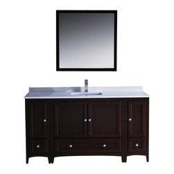 Fresca - 60 Inch Single Sink Bathroom Vanity in Antique White, Mahogany - Blending clean lines ...