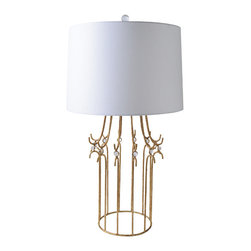 Gilded Nola - Stella Table Lamp - Stella Table Lamp features a metal frame, finished in Glazed Gilt and detailed with small crystal glass spheres. Its shade is made with white linen.