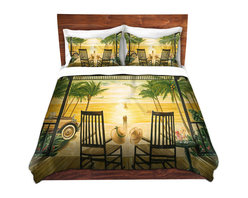 DiaNoche Designs - Duvet Cover Microfiber by Mark Watts - Sunset Serenade - Super lightweight and extremely soft Premium Microfiber Duvet Cover in sizes Twin, Queen, King.  This duvet is designed to wash upon arrival for maximum softness.   Each duvet starts by looming the fabric and cutting to the size ordered.  The Image is printed and your Duvet Cover is meticulously sewn together with ties in each corner and a hidden zip closure.  All in the USA!!  Poly top with a Cotton Poly underside.  Dye Sublimation printing permanently adheres the ink to the material for long life and durability. Printed top, cream colored bottom, Machine Washable, Product may vary slightly from image.