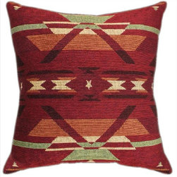 Pair Red Southwestern Print Tapestry Pillows - This pair of 18 inch by 18 inch woven throw pillows adds a wonderful accent to your home or cabin. The pillows feature the same red Southwestern geometric print on both fronts and backs. They have 100% polyester stuffing. These pillows are crafted with pride in the Blue Ridge Mountains of North Carolina, and add a quality accent to your home.