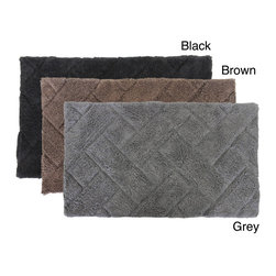 Austin Horn Classics - Austin Horn Classics Basket Weave 21 x 34 Bath Rug - Add to bathroom decor with this luxurious cotton bath rug. This 100-percent cotton bathroom rug has a plush and comforting soft feel with a subtle square and rectangle pattern.