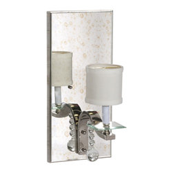 Worlds Away - Worlds Away Antique Mirror Sconce with Nickel Detailing BETTE N - Antique mirror sconce with nickel detailing and glass bobesche. Ul approved for one 40 watt candelabra bulb. Hardwire only.