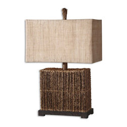 Uttermost - Barbuda Palm Branches Table Lamp - A lot of detail went into this lamp but the end result is a clean, distinctive one-of-a-kind look sure to complement your decor. Natural fabric shade and palm branches give a new meaning to 'reclaimed!'