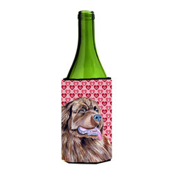 Caroline's Treasures - Newfoundland Hearts Love and Valentine's Day Portrait Wine Bottle Koozie Hugger - Newfoundland Hearts Love and Valentine's Day Portrait Wine Bottle Koozie Hugger Fits 750 ml. wine or other beverage bottles. Fits 24 oz. cans or pint bottles. Great collapsible koozie for large cans of beer, Energy Drinks or large Iced Tea beverages. Great to keep track of your beverage and add a bit of flair to a gathering. Wash the hugger in your washing machine. Design will not come off.
