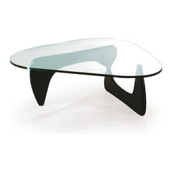 """On Sale Now - Goccia retro coffee table with a natural walnut or black base and a 3/4"""" glass top, it was $995.- NOW ONLY $ 499.-"""
