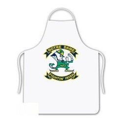 Sports Coverage - Notre Dame Fighting Irish Tailgate Apron - Collegiate Notre Dame University Fighting Irish White screen printed logo apron. Apron is 100% cotton twill with screenprinted logo. One Size fits all.