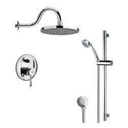 Remer - Sleek Polished Chrome Rain Shower Faucet with Slide Rail - Multi function shower faucet.