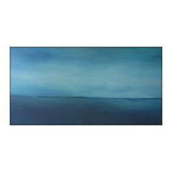 Large Abstract Painting on Canvas Modern Acrylic Skyline- 24x48- Grays, Blues, W - Minimalist Abstract Sky Line Landscape Original Painting - Blues, Whites, Creams