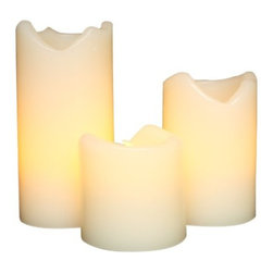 Everlasting Glow LED Ivory Wax Candles With Drip Effect - Whether for extra mood lighting or filler in a vignette, candles are always used in my decor. I put them on the mantel, on top of the hutch in the bathroom, and in the bedroom. They are cheap, look great in lanterns and add instant romance to a space.