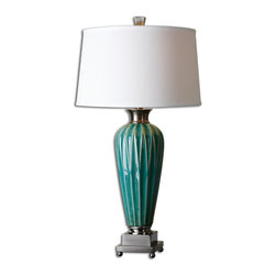 Uttermost - Bethune Blue Ceramic Table Lamp - Lightly distressed blue ceramic accented with brush nickel plated details. The round, slightly tapered hardback shade is a white linen fabric with natural slubbing.