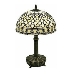 """Warehouse Of Tiffany - Tiffany-Style White Jewel Lamp - Tiffany Style White Jewel Table Lamp. Has a very simple pattern with crystal white jewels and off white cut glass. The base is made of white zinc metal in brass finish. It requires 1 bulb with a max of 60watts with an in line cord switch. It has more than 100pcs. of cut glass, each glass is individually cut and wrap around copper foil and soldered together. Dimension 20""""hx12""""w."""